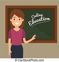 教師, 女, 教育, 黒板, オンラインで