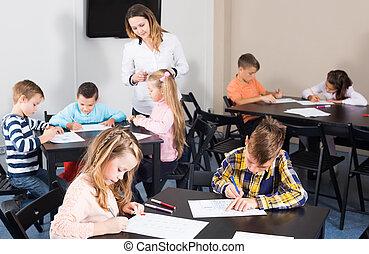 教師, 子供, 図画, 年齢, 基本, 女性