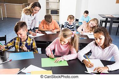 教師, 学童, 図画, 年齢, 基本