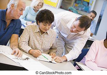 教師, 援助, 成長した 学生, クラスで