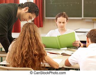 教師, 教授, ∥あるいは∥, 教育しなさい, ∥において∥, 板, a, クラス, 中に, 学校