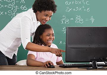 教師, 教授, 彼女, 学生, クラスで