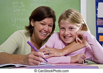 教師, 教授, 若い, 学生, 中に, 教室