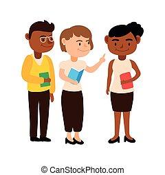 教師, 特徴, interracial, 労働者, チーム