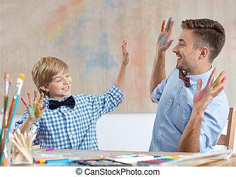 教師, 芸術, 生徒, クラス