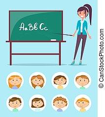 教師, 黒板, abc, 手紙, 英語