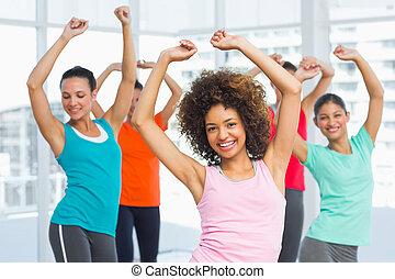 教師, pilates, 類別, 練習, 健身