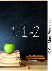 教師` s, 書桌, 以及, 黑板