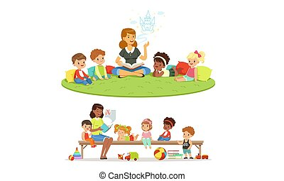 教師, tale., 読む, 妖精, 幼稚園, ベクトル, illustrations., セット