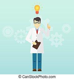 教授, 始動, 若い, idea., 科学者, 得られた