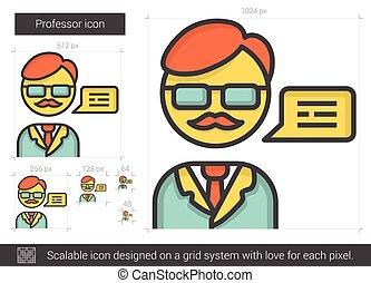教授, 線, icon.
