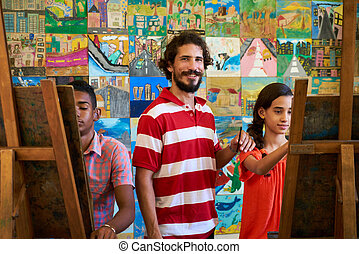 教授, 肖像画, 微笑, そして, カメラを見る, 中に, 芸術, 大学