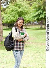 教科書, 女性, 保有物, 学生, 若い