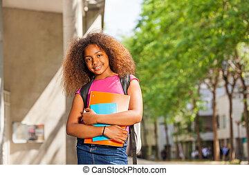 教科書, 学校の 女の子, 巻き毛