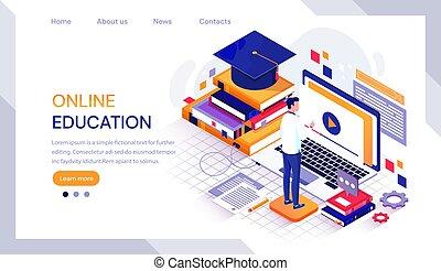 教科書, 帽子, オンラインで, infographic, マレ, mortarboard, 囲まれた, コンピュータ, ラップトップ, 卒業, 仕事, 学生, 教育