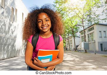教科書, 微笑, 学校の 女の子, 肖像画