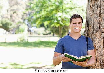 教科書, 肖像画, 保有物, 学生, 微笑, toothy