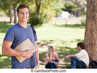 教科書, 肖像画, 保有物, 微笑, 学生