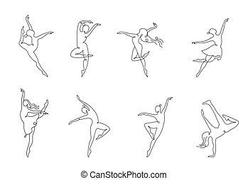 教練, 网, 鮮艷, 人們, 跳舞, 摘要, 運動, 體操, 跑, 矢量, 健身, 活躍, 標識語, design., logo., 符號, 圖象