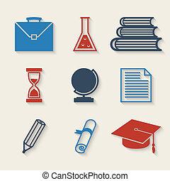 教育, アイコン, セット