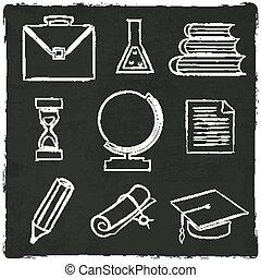教育, アイコン, セット, 上に, 古い, 黒, 板