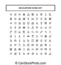 教育, アウトライン, デザイン, セット, ベクトル, スタイル, アイコン