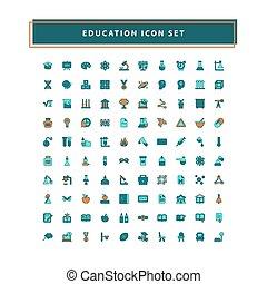 教育, アウトライン, デザイン, 満たされた, セット, ベクトル, スタイル, アイコン