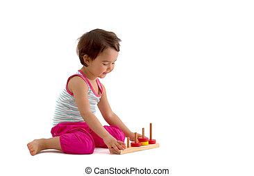 教育, カップ, 隔離された, toys., 背景, 子供, 白, 遊び