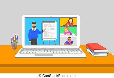 教育, クラス, オンラインで, テレコンファレンス, 事実上