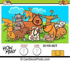 教育, ゲーム, ネコ, 活動, 数える, 犬
