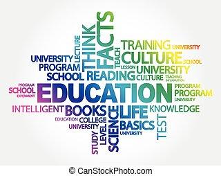 教育, コラージュ, 単語, 雲