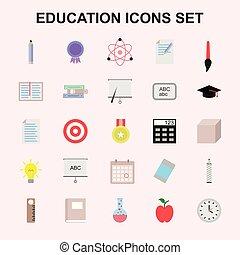 教育, セット, アイコン