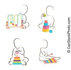 教育, プレーしなさい, toys., 子供, 赤ん坊, 開発, アイコン