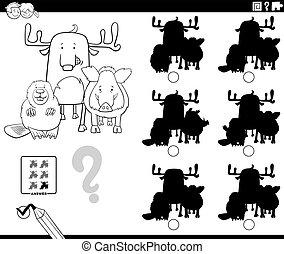 教育, ページ, ゲーム, 動物, 着色, 影, 本