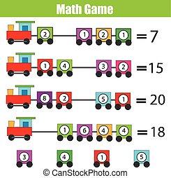 教育, 付加, ゲーム, 勉強, children., 数学
