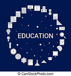 教育, 創造的, 背景, アイコン