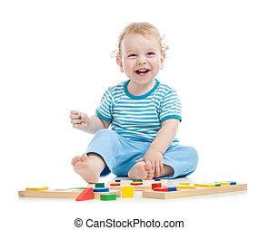 教育, 地板, 孩子, 玩具, 玩, 开心
