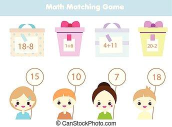 教育, 子供たちがゲームをする, children., 数学, activity., 数える, 似合う, 数学