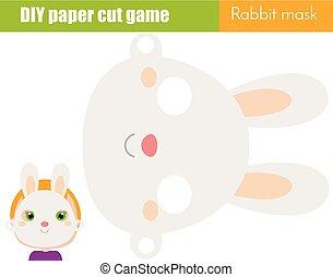 教育, 子供, シート, 動物, printable, game., 作りなさい, マスク, 顔, ペーパー, scissors., diy, うさぎ, パーティー, 創造的, 子供