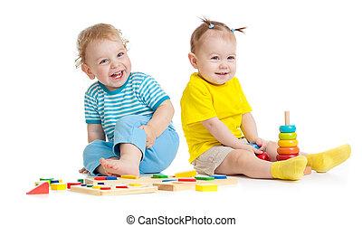 教育, 子供, 隔離された, おもちゃ, 愛らしい, 遊び