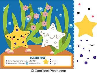 教育, 子供, game., ページ, 形, mathematics., 勉強, 活動, cutting., 数える, 子供, starfishes.