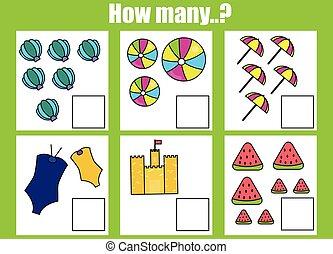 教育, 子供, worksheet., オブジェクト, 多数, ゲーム, いかに, 仕事, 活動, 数える, 子供