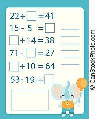 教育, 子供, worksheet., 付加, よちよち歩きの子, ゲーム, 減法, 勉強, children., 数学, counting.