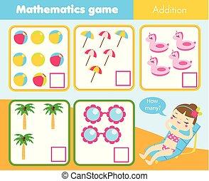教育, 子供, worksheet., 多数, ゲーム, いかに, 勉強, 活動, 数学, objects., 数える, 子供
