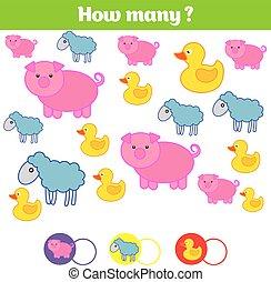 教育, 孩子, 学问, 许多, sheet., 如何, 对象, 游戏, 数学, 活动, 计数, 孩子, task., 数字