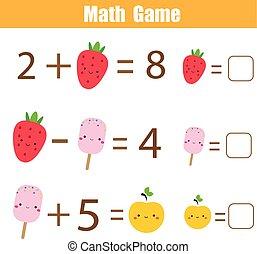 教育, 完了しなさい, 付加, 勉強しなさい, ゲーム, 減法, children., equations.