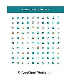 教育, 意匠の色, 平ら, セット, ベクトル, スタイル, アイコン