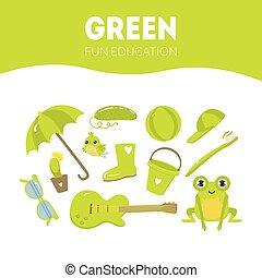 教育, 楽しみ, オブジェクト, ゲーム, 緑, 色, 幼稚園, 子供, イラスト, 別, ベクトル