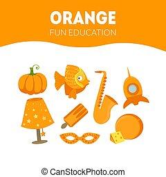 教育, 楽しみ, オブジェクト, ゲーム, 色, オレンジ, 幼稚園, 子供, 別, イラスト, ベクトル