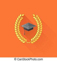 教育, 概念, 帽子, イラスト, 卒業生, ベクトル, 月桂樹, wreaths.